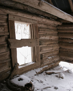 Snow in a cabin
